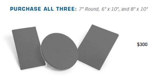 7in Round Platen; 6in X 10in Platen and 8in X 10in Platen Kit